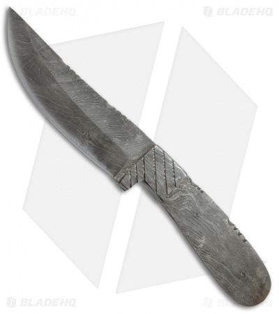 "Grindworx Trailing Point Damascus Blade Blank Grooved Bolster (4.875"" Damascus)"