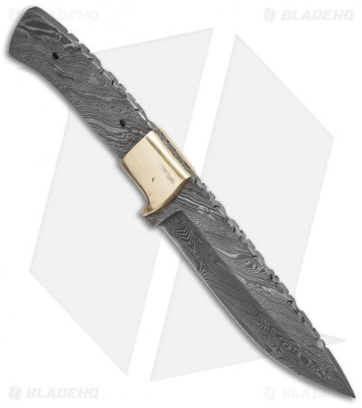 "Grindworx 9.00"" Integral Drop Point Hunter Knife Damascus Blade Blank #19"