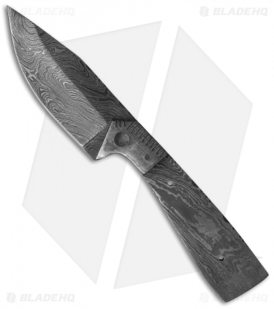 "Grindworx 8.25"" Integral Drop Point Hunter Knife Damascus Blade Blank #27"