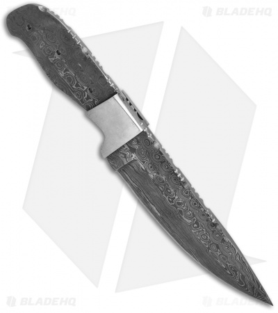 "Grindworx 8.5"" Bolstered Standard Hunter Knife Damascus Blade Blank #37"