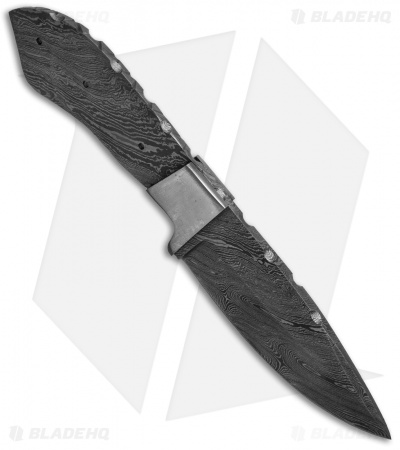 "Grindworx 8"" Integral Drop Point Hunter Knife Damascus Blade Blank #39"