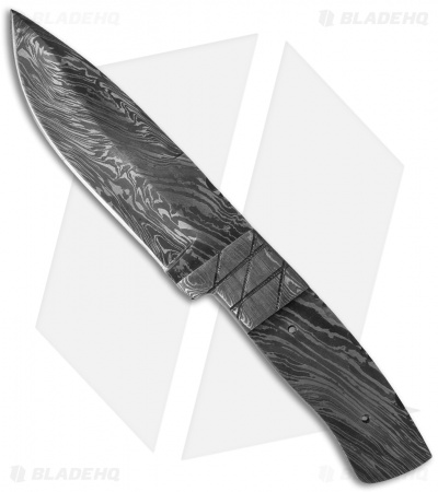 "Grindworx 8.25"" Integral Drop Point Hunter Knife Damascus Blade Blank #40"