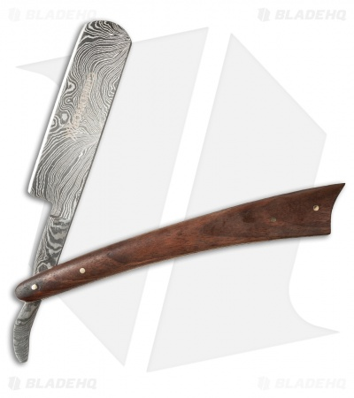 Grindworx Damascus Straight Edge Classic Razor (Walnut)