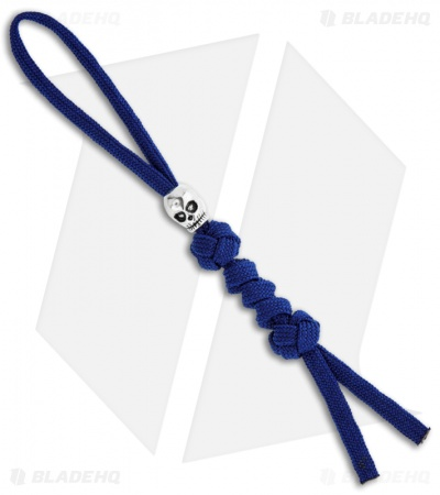 Grindworx Polished Metal Skull Bead w/ Royal Blue Paracord Lanyard