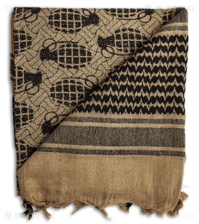 Grindworx Shemagh Grenade Design Head Scarf (Tan)