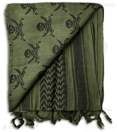 Grindworx Shemagh Head Scarf Pirate Skull (OD Green)