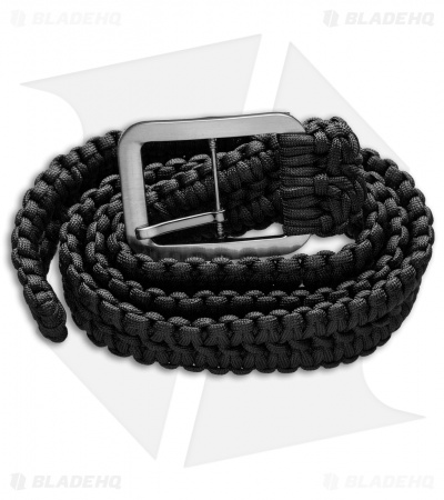 Grindworx Small Survival Paracord Belt Double Wide Solomon (Black)