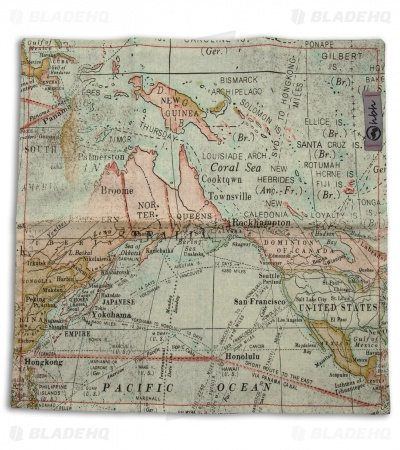 "Hanks by Hank 10"" x 10"" Handkerchief - Map"