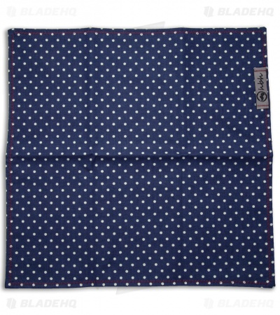 "Hanks by Hank 10"" x 10"" Handkerchief - Navy Polkadot Mustard"