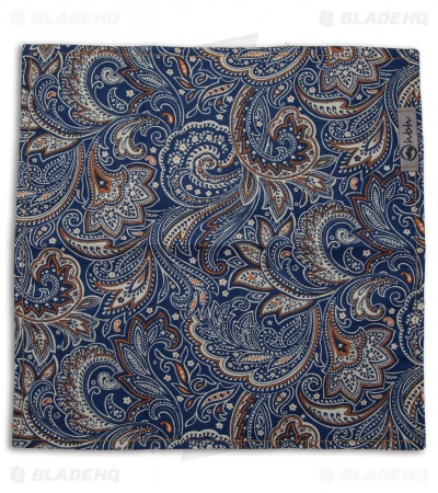 "Hanks by Hank 10"" x 10"" Handkerchief - Orange/Blue Paisley"