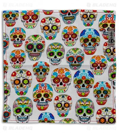 "Hanks by Hank 10"" x 10"" Handkerchief - OG Sugar Skull White"