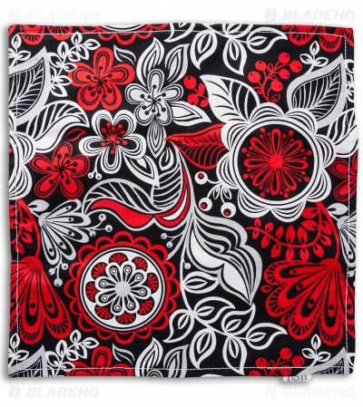 "Hanks by Hank 10"" x 10"" Handkerchief - Red Floral"