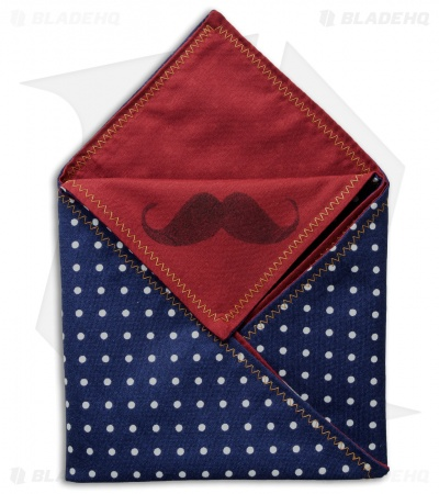 "Hanks by Hank 10"" x 10"" Handkerchief - Navy Polkadot Maroon"