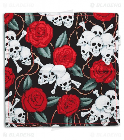 "Hanks by Hank 10"" x 10"" Handkerchief - Skulls & Roses"