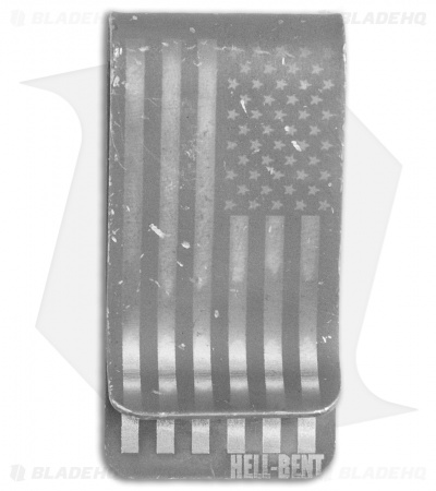 Hell-Bent Holsters Mini Titanium Money Clip (Distressed Flag)