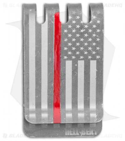 Hell-Bent Holsters Thin Red Line Titanium Money Clip (Distressed)