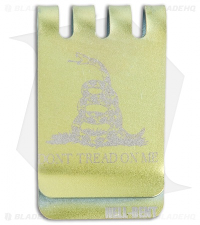 "Hell-Bent Holsters ""Don't Tread On Me"" Titanium Money Clip (Gold)"