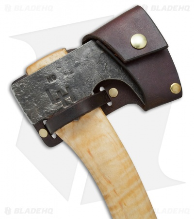 "Hoffman Blacksmithing 12"" Bearded Hatchet Axe  w/ Flame  Maple Handle - Natural"