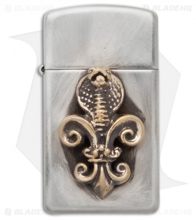 "Lion ARMory ""Cobra Crest"" Brushed Stainless Steel Mini Zippo Lighter"