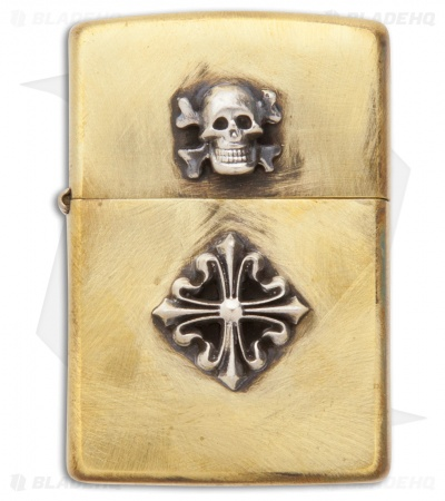 "Lion ARMory ""Shield & Skull"" Brushed Brass Zippo Lighter"