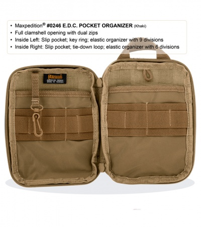 Maxpedition E.D.C. Pocket Organizer Khaki Utility Pouch Bag 0246K