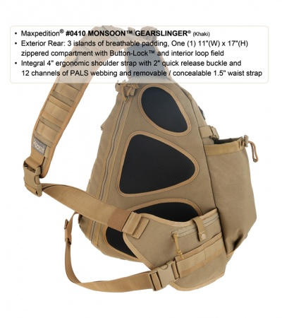 Maxpedition Monsoon Gearslinger Khaki Shoulder Pack Hydration 0410K
