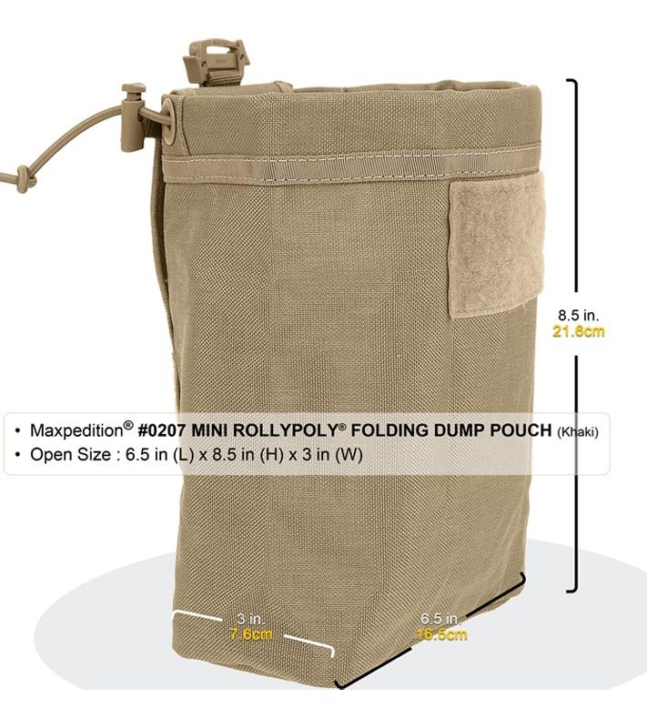 Maxpedition 0208K Khaki Rollypoly MM Folding Dump Pouch
