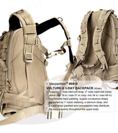 Maxpedition Vulture II Khaki 3-Day Backpack Assault Pack Bag 0514K