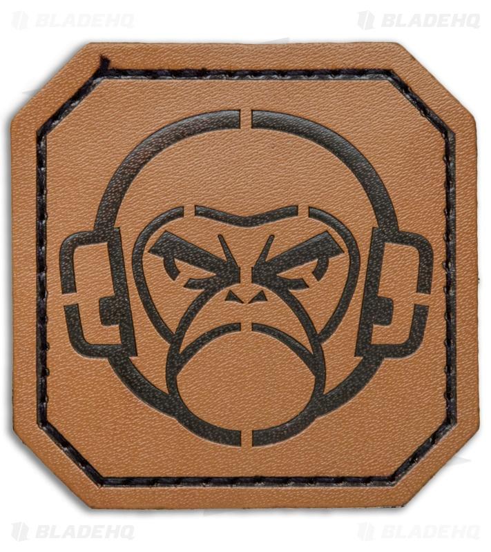 MSM Monkey Stencil Leather Patch (Brown)