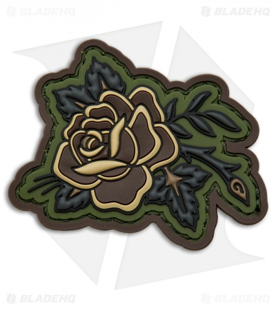 MSM Rose Tattoo PVC Patch Hook Velcro Back (Forest)