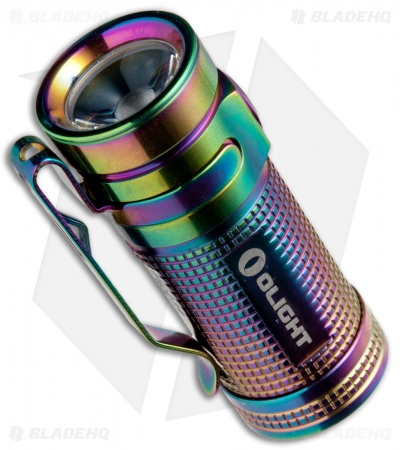 Olight SMINI Baton Rainbow PVD Titanium Flashlight Cree XM-L2 LED (550 Lumens)