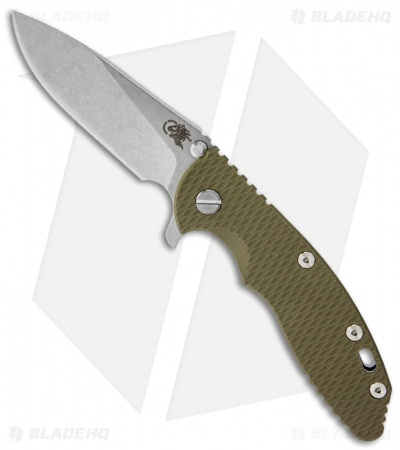 "Hinderer Knives XM-18 Slicer Flipper Knife OD Green G-10 (3.5"" Stonewash)"