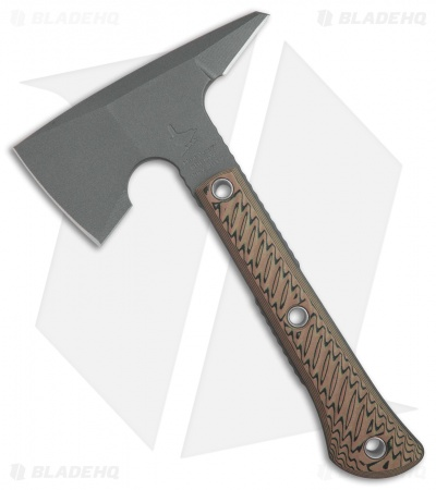 "RMJ Tactical Mini Jenny 9.5"" Tomahawk Axe Hyena Brown G-10 (Tungsten Cerakote)"