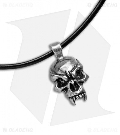 Schmuckatelli Pewter Fang Skull Pendant w/ Leather Necklace