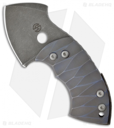 "TuffKnives War Toad Friction Folder Knife Anzo Blue Full Ti (2.1"" Plain)"
