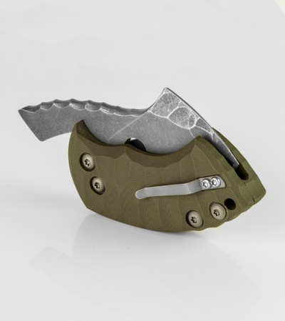"TuffKnives War Toad OD Green Integral Friction Folder Knife (2.1"" Acid SW)"