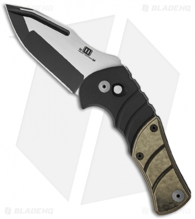 "Mikkel Willumsen Urban Tactical Maddox Auto Knife Tan/Black G10 (3.75"" Plain)"