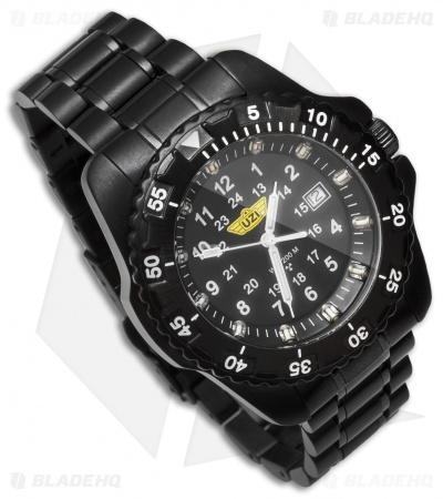 Uzi Defender Tritium Men's Watch Black Stainless Band (Black) Uzi-32-BSS