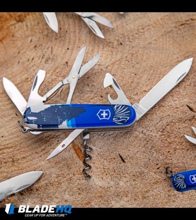 "Victorinox Swiss Army Knife Huntsman Blade HQ Blue Crazy Wolf ""Lobo Loco"""
