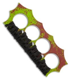 Brous Blades Military D2 Steel Zombie Green 4-Hole Knuckles w/ Black Paracord