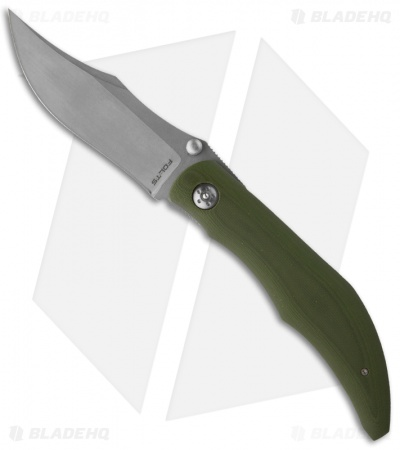 "Alan Folts Custom Standard Sultan Folder Green G-10 Knife (3.75"" Stonewash)"