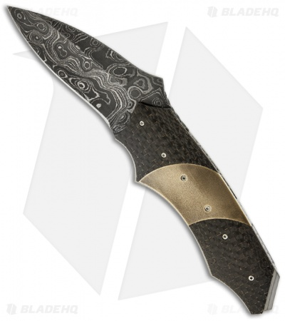 "Corrie Schoeman Impact Flipper Folder Knife Lightning Strike CF (3.25"" Damascus)"