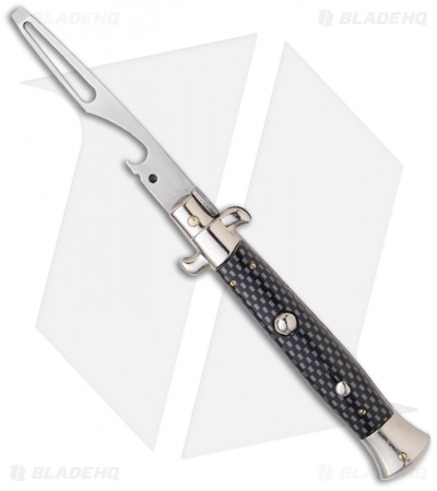 "Frank B 8.5"" Italian Stiletto Automatic Bottle Opener Sim Carbon Fiber"