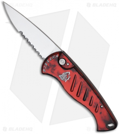 "Piranha Fingerling Automatic Knife Red (2.5"" Mirror Serr)"
