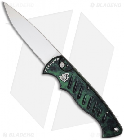 "Piranha Green P-1 Pocket Automatic Knife (3.2"" Mirror Plain)"