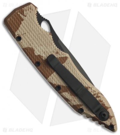 "Piranha Mini Predator Desert Camo Tactical Automatic Knife (3.5"" Black Serr)"