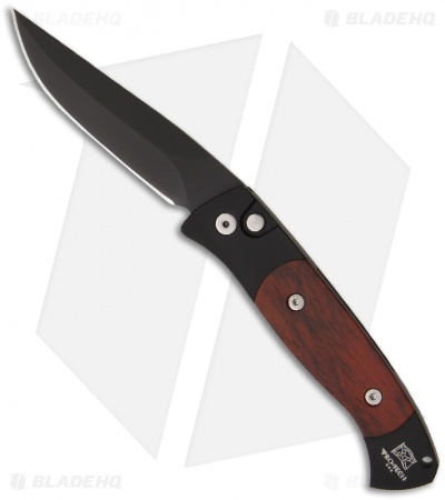 "Protech Small Brend 2 Automatic Knife w/ Cocobolo (2.9"" Black Plain) 1207-C"