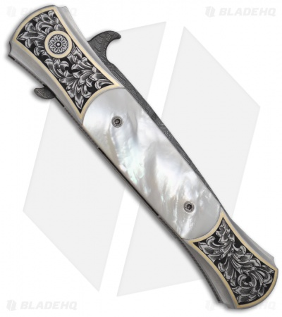 Protech Large Don Ultimate Masterpiece Custom Knife Mother of Pearl Damascus