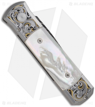 Protech Ultimate Custom Steel Godson Knife Mother of Pearl (Damascus)