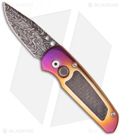 "Protech Custom Titanium Runt 2 Automatic Knife (1.9"" Damascus)"